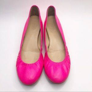 J. Crew Hot Pink Cece Leather Ballet Flats